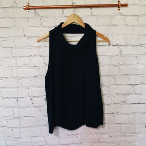 Free People Navy Blue open back high neck top